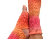 Yoga Socks Hand Knit in Pink and Orange Pedicure Pilates Dance