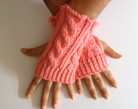 Fingerless Gloves Wrist Warmers in Strawberry Pink Cable Handknit