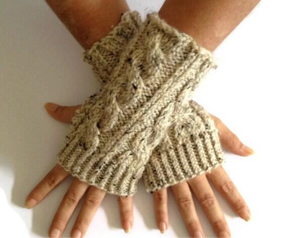Oatmeal Fingerless Gloves Cable Handknit Wrist Warmers