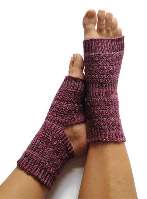 Yoga Socks Hand Knit in Purple Stripes Pedicure Pilates Dance