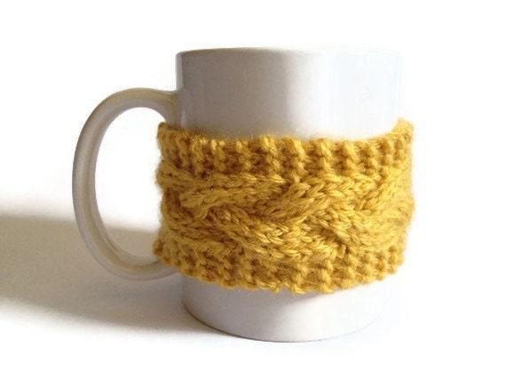 Mustard Yellow Mug Cozy Coffee Cozy Coffee Sleeve Cup Cozy Cable Knit