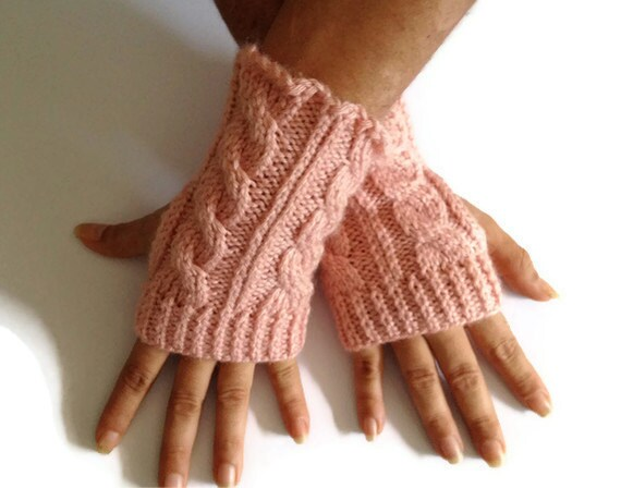 Fingerless Gloves Wrist Warmers in Pink Cable Handknit
