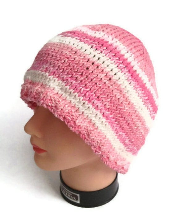 Cotton Beanie Handknit in Pink Stripes Multicolored Cotton Hat