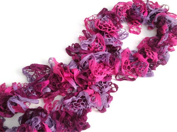 CLEARANCE Ruffle Scarf in Pink and Purple