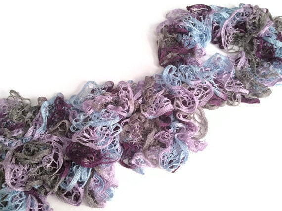 CLEARANCE Ruffle Scarf in Blue Purple and Grey