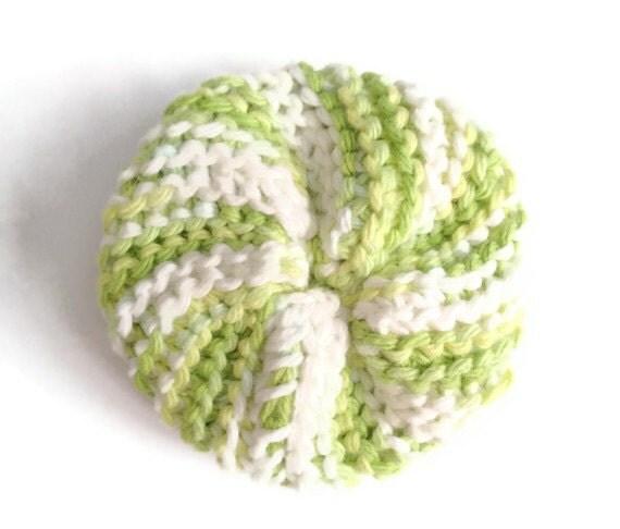Dish Scrubbie Vegan Spiral in Green and White Tribble Tawashi