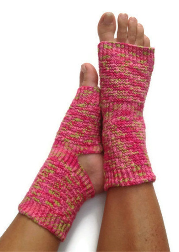 Yoga Socks Hand Knit in Pink and Green Pedicure Pilates Dance