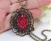 Red rose necklace, Sale, vintage style, flower, black, romantic jewelry