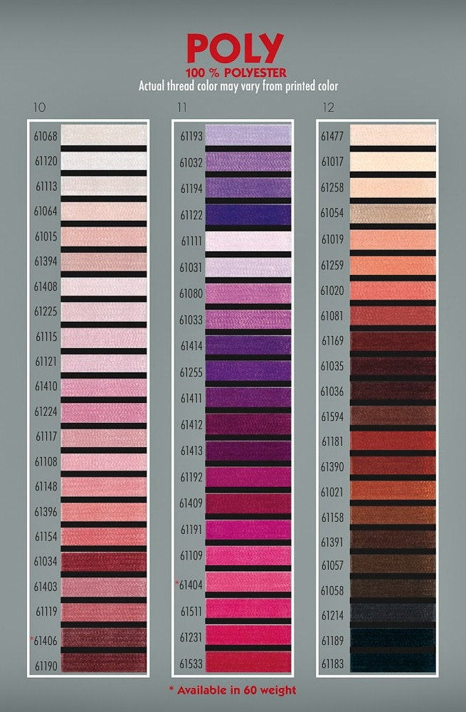 Gunold Polyester Thread Color Card
