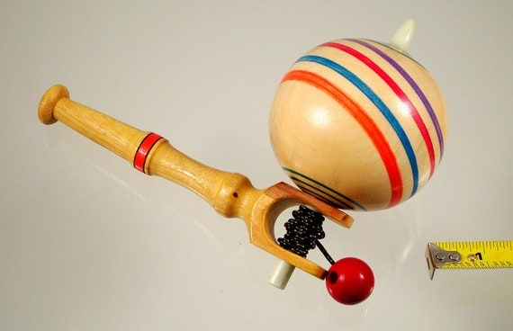 Toy top No. 332a, Wood spinning top with handle. Free shipping to US & Canada.