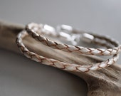 Leather Braided Bracelet with Sterling Clasp