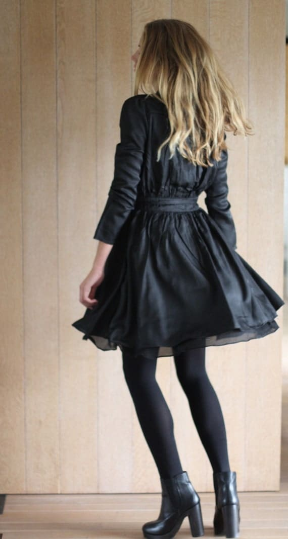 Reserved for Karleeanna - Gorgeous floaty black pleated sway Dress