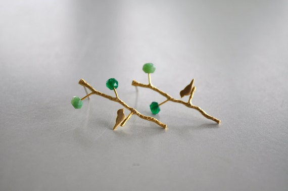 Golden Bird in a Tree Earrings