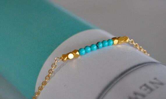 Gold Turquoise Beaded Bracelet