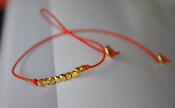 Gold Beaded Red String Bracelet