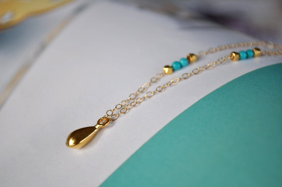 Gold Drop Turquoise Necklace