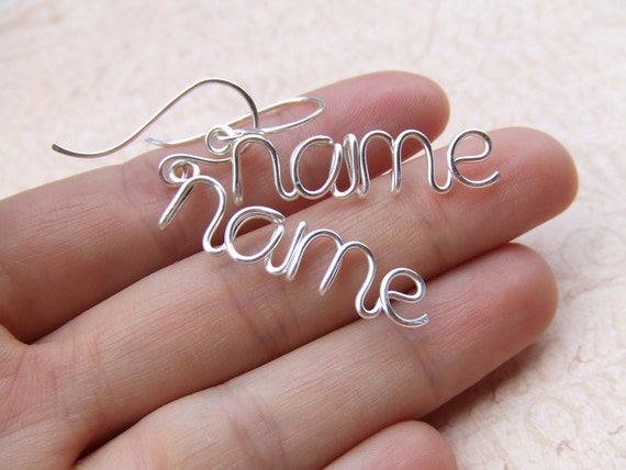 Name Earrings, Personalized Up to 9 Letters, Silver Gold Copper, Personalized Name, Custom Earrings, Wire Wrap Word Jewelry Gifts Under 25