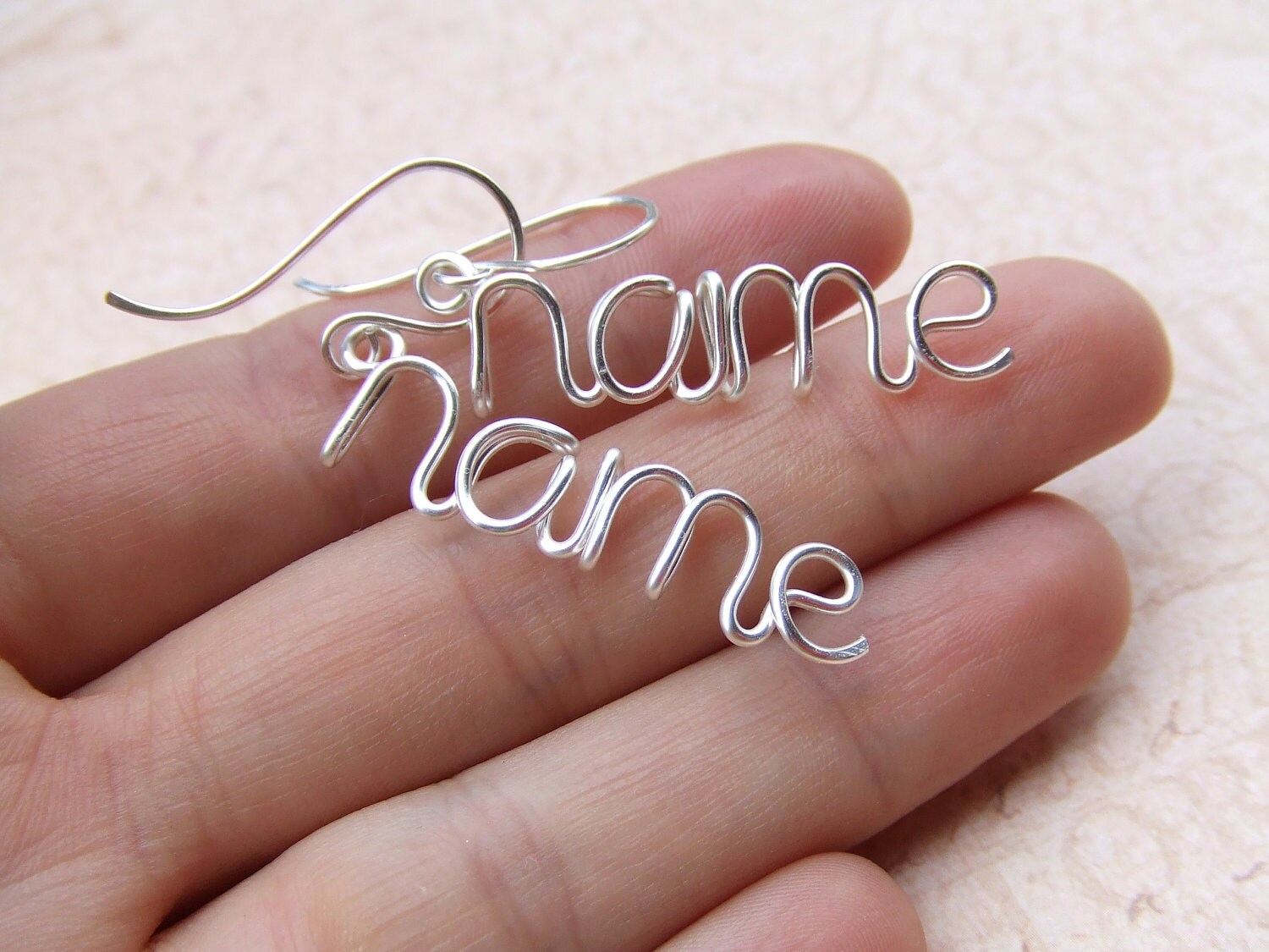 Names Make Words Custom Wire Word Name Earrings