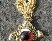Vintage Jewelry Necklace, Fish Pendant and Glass Eye G