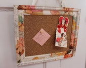 Vintage Baby Collage Cork Board Wall Hanging - Recycled Wooden Frame