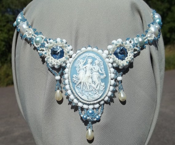 Dancing Days -- Baby Blue and Cream Cameo and Beadwork Necklace
