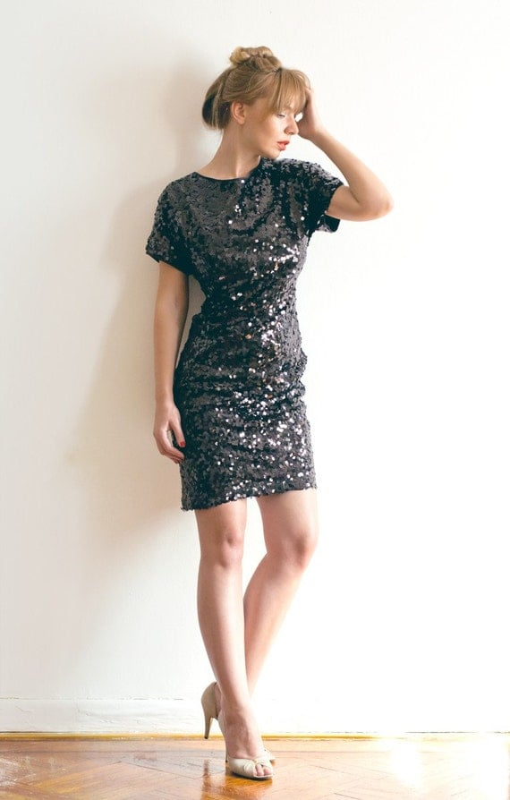 Sample Sale - Black Sequinned Party Dress - Ready to Ship - Size M