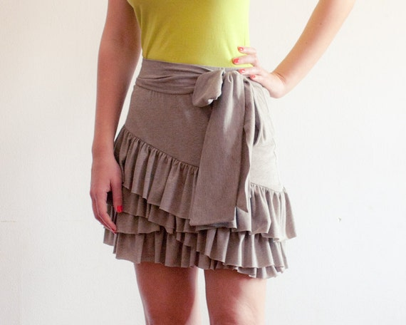 Sample - Flirty Ruffles Mini Skirt in Organic Cotton - Size Small - Ready to Ship