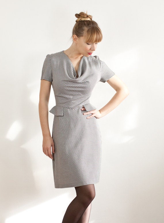 Houndstooth Shift Dress With Cowl-neck and Short Sleeves - Made To Order