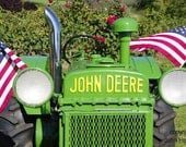 Antique John Deere Tractor with American Flags An Americana Fine Art Photo