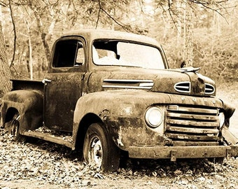 Sepia Toned Print of Old  Ford F 1 Truck Fine Art Photo Wall Decor for Men