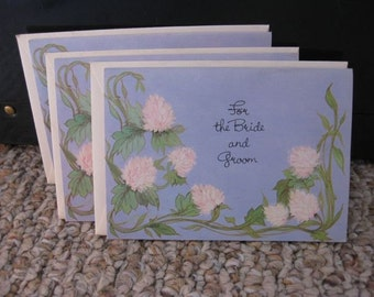 A Set of Three Lavender Wedding Gift Cards