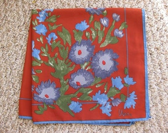40% off SALE - Blue Dianthus on Rust Vera Scarf - was 20/now 12