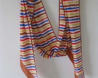 40% Off SALE - Indian Summer Stripe Echo Silk Scarf - Was 14/Now 8.40