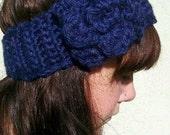 Crochet Ear Warmer Headband With Detachable Flower Brooch