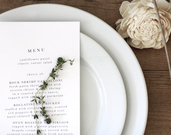 Printable Modern Organic Menu Card /  (DIY)