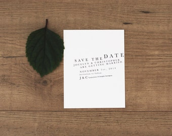 Printable / Modern Organic Wedding Save the Date  / (DIY)