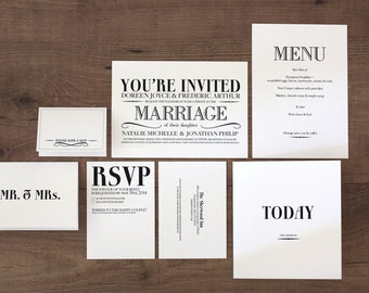 Printable / Vintage Modern Deluxe Wedding Invitation Kit (DIY)