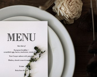 Printable Modern Vintage Menu Card / (DIY)