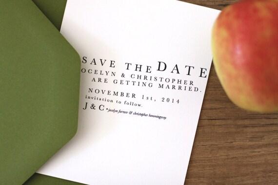 Printable / Playful Typography Wedding Save the Date / (DIY)