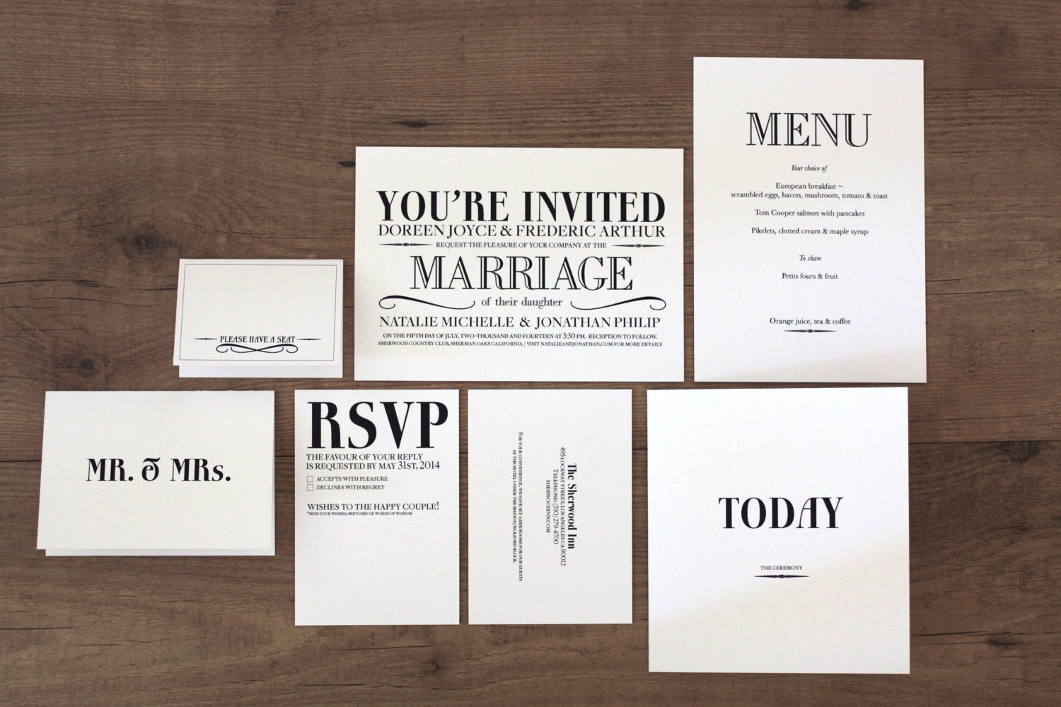 Printable Wedding Invitations Kits: Printable / Vintage Modern Deluxe Wedding Invitation Kit DIY