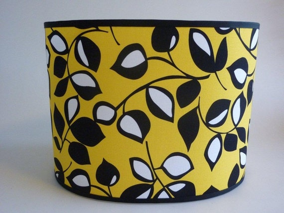 """8x12""""oval 9""""tall Modern Yellow  Lampshade with Black and White Leaves"""