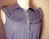 70's Blue Calico Dress