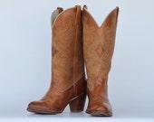 sexy vintage Acme cutout applique leather women's cowboy boots 9 M