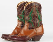 Beautiful vintage Acme wing tip leather cowboy boots with cut outs, circa 1950's.....