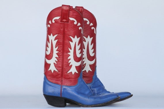 Ladies cowboy boots, vintage Justin 2 tone leather cut out cowgirl boots 6.5 B