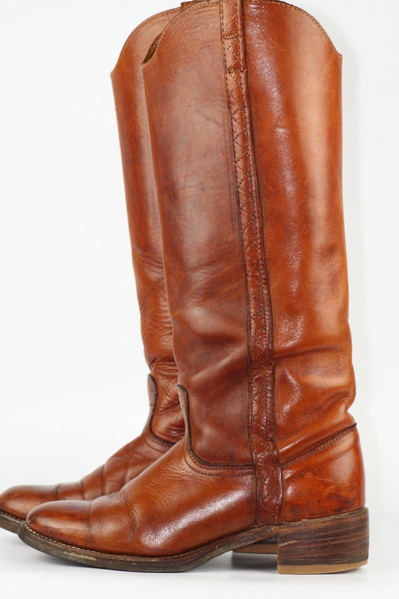 Tall Beautiful Acme leather campus riding boots 8 M, NICE