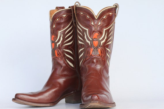 Beautiful very well made vintage Eagle cut out leather mens cowboy boots 10.5 D MINT