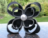Zipper Flower Hair Piece- Black