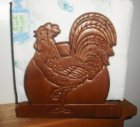 SALE--Funky- Rooster- Napkin Holder