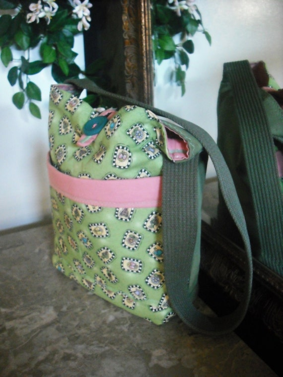CLEARANCE - Adorable -Sage /Pink -Quilted-Upcycled-Shoulder/Ipad/Diaper/Market-Handbag / Purse - w/ 4- pockets